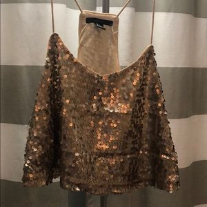 Cropped Tank Top Gold Sequin